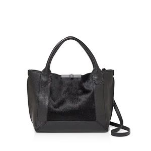 Botkier Small Perry Black Leather Haircalf Tote